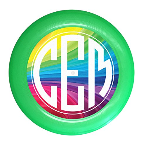 Wham-O Custom Initials Rainbow Monogram Ultimate Frisbee Disc - 175g, Green