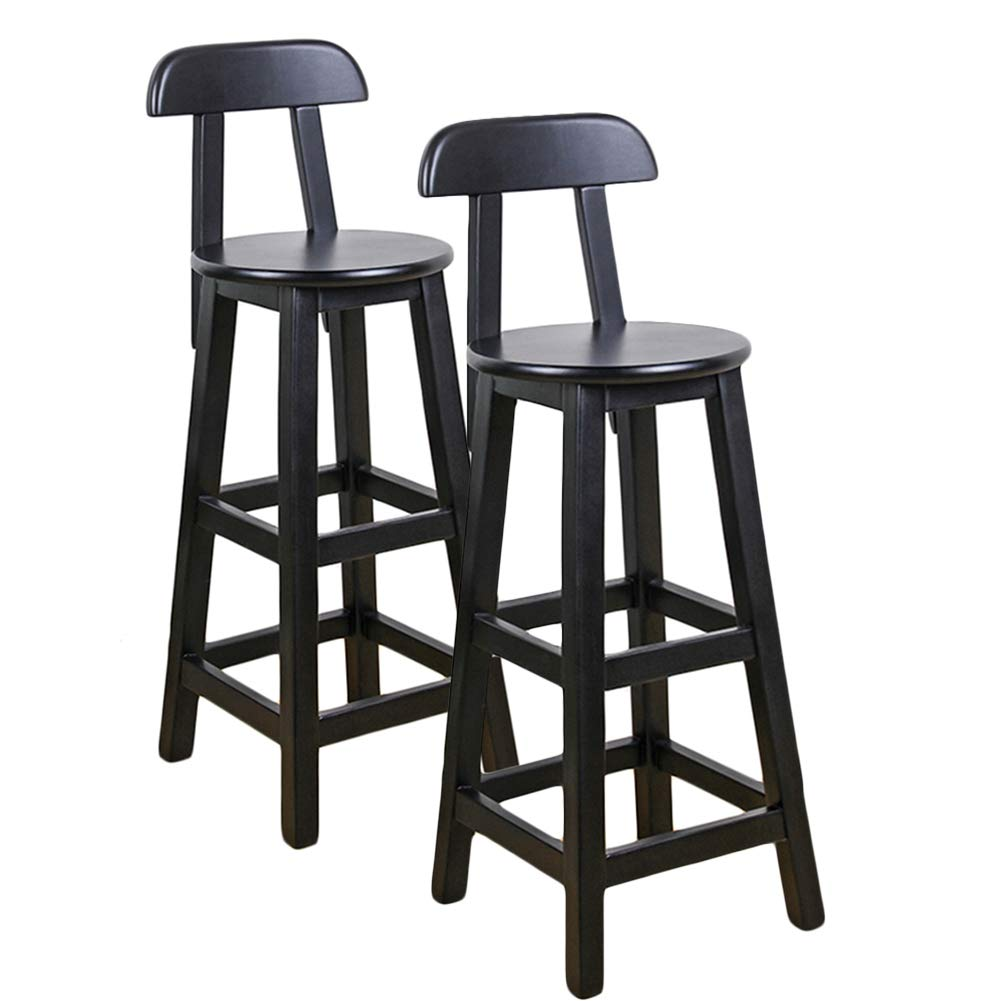 LIQICAI Wooden Black Bar Stool with Backrest and Footrest Breakfast Extremely Comfy, 4-Leg Structure, 3 Height Optional (Color : 2PCS, Size : 36x36x80cm)