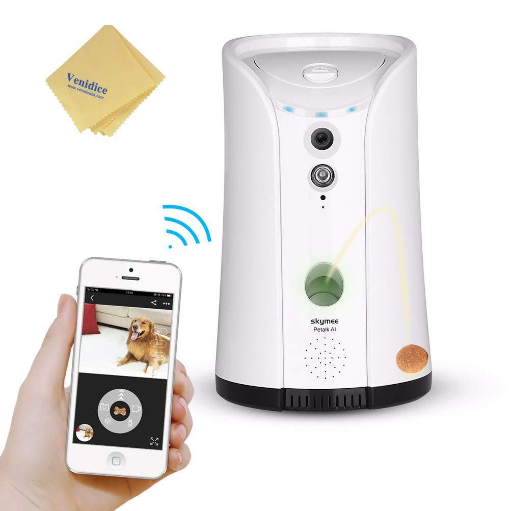 Venidice skymee 2-Way Audio Dog Camera, Night Vision Pet Camrea, WiFi Remote Control for Treat Dispenser Cleaning Cloth by Venidice