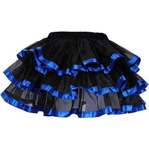 Tutu Jupe Jupes Femmes 3 couches noir jupe en tulle avec rouge/blanc/rose/bleu satin bord Bleu