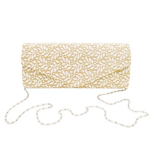 Metallic Handbag Clutch Tree Glitter Shine Evening Gold Leaves Colors Diff Bag Lace rx4RrwS7