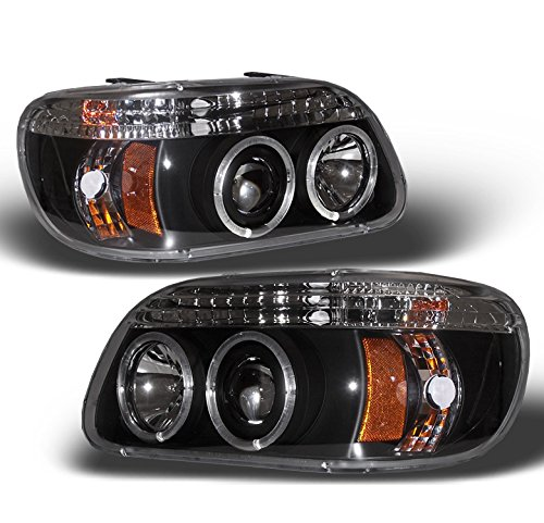 ZMAUTOPARTS Ford Explorer Dual Halo LED Projector Headlights Lamp Black