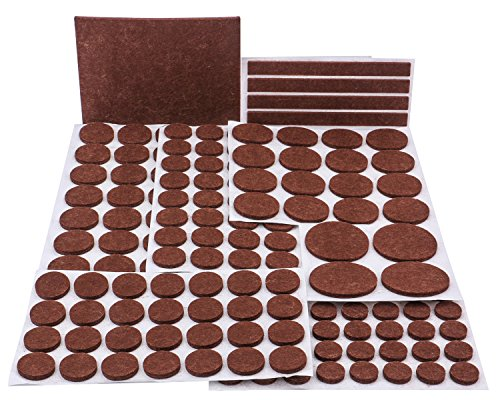Felt Pads, MINERVA Heavy Duty Adhesive Furniture Pads - Floor Protector for Tiled, Laminate, Wood Flooring - 153 Pieces Floor Protectors, Felt Chair Pads, Hardwood Floor Protector of Various Sizes Inc