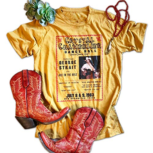 GEMLON Country Music T Shirts Women Hotter Then A Hoochie Coochie Shirt Graphic Blouse Tee Size XL (Yellow)]()