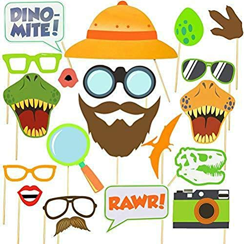 iFun iCool Dinosaur Photo Booth Props 20 PC Dinosaur Adventure Theme Party Supplies Dino Colorful Party Supplies
