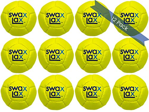 SWAX LAX 12-Pack Coach-Team Bundle Lacrosse Training Balls Ball Bag, Same Size and Weight as Regulation Lacrosse Ball but Soft - No Rebounds, No Bounce (Yellow)