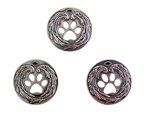Metal Charm Tokens - Silver Tone Pet Memorial Paw Print Pocket Token, 1 Inch, Set of 3