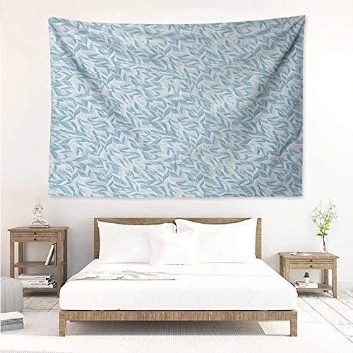 alisos Leaves,Wall Art Tapestry Abstract Foliage Pattern with Doodle Style Nature Growth Vintage Composition 91W x 60L Inch Home Decor Wall Hanging Baby Blue and Blue