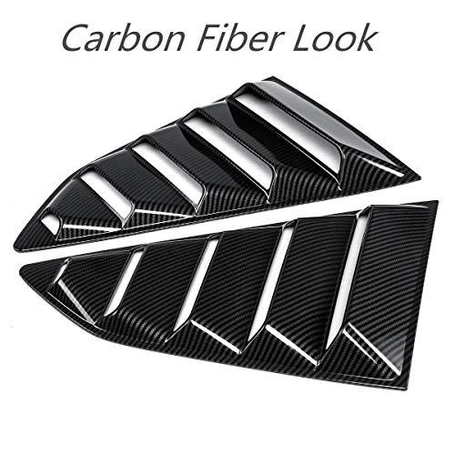 2 Pcs Black/Carbon Fiber Look Side Window Louver Vent Scoop Side Window 1/4 Quarter Louver Cover Vents For 2016-18 Chevy Camaro ()