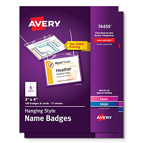 Avery ID Lanyard Name Tag Holder, 100 Badges Per Pack, 2 Packs (Template 74459)