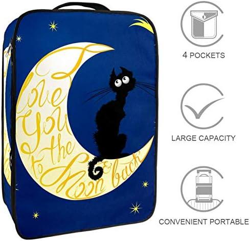 MYSTAGE シューズケース 靴入れ 月 猫 シューズバッグ シューズ袋 収納ポーチ 靴箱 履き替え 小物収納 取り付け 多機能