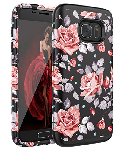 - Galaxy S6 Case, S6 Case - SKYLMW [ Shock Resistant Series ] Hybrid Rubber Case Cover for Samsung Galaxy S6 3in1 Hard Plastic +Soft Silicone Rose Flower/Black