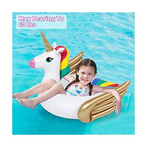 iGeeKid Pool Float for Kids Unicorn Flamingo Swim Floats for Toddlers Age 3-6 Years Inflatable Unicorn Floaties Swimming… 5