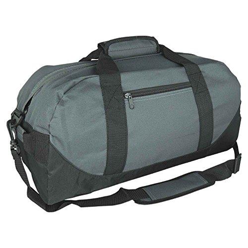 "iEquip 12"" 14"" 18"" 21"" Duffle Bag, Gym, Travel Bag Two Tone (Medium (18""x 9"" x 9""), Gray)"