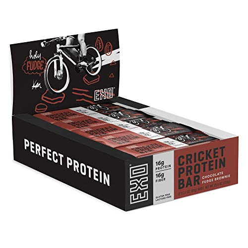 Exo Protein Bars 16g Protein, Gluten Free, High Fiber, Dairy Free Energy Bar, Chocolate Fudge Brownie, 12 Count
