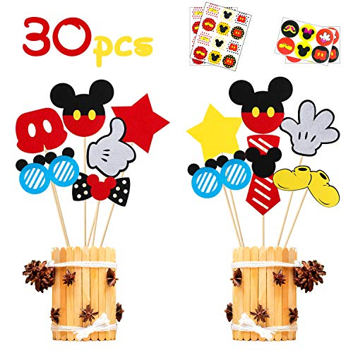 Minnie Mouse Baby Shower Centerpieces (MALLMALL6 30Pcs Mickey Centerpiece Sticks Birthday Party Table Topper Decorations Baby Shower Mickey Party Supplies Room Decor Party Favors Costumes Pretend Play Photo Booth Props for)