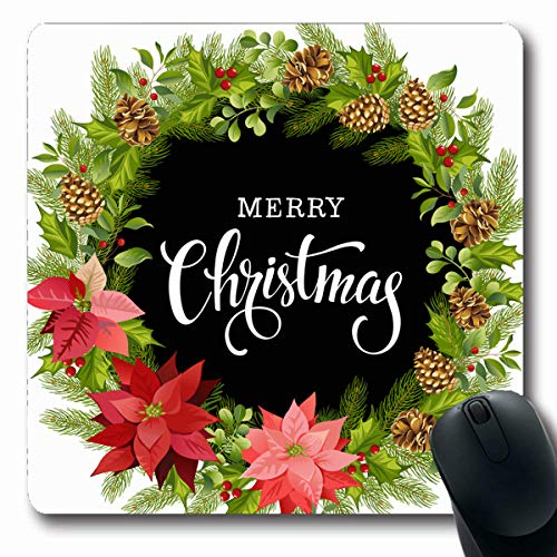 VivYES Gaming Mousepad Custom Celebration Badge Christmas Wreath Red Poinsettia Leaves Watercolor Holidays Bend Berry Black Bow Oblong Shape 7.9 x 9.5 Inches Rectangle Non-Slip Rubber Mouse Pads