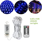 Blue 200 Led Net Mesh Lights,9.8ft x 6.6ft,Battery Powered,Indoor Outdoor String Linghts for Dance Weekend Party Exhibition Concert Bar Library Backrest Ferry Graduation [Remote,8 Mode,Timer,Dimmable]
