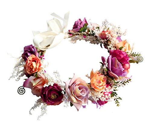 LINFLL Rose Flower Crown Wreath Headband Festival Wedding Hair Floral Halo Headpiece with Ribbon Rose Red ()