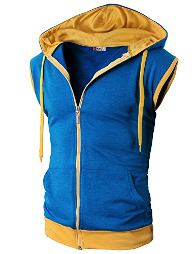 (H2H Mens Comfortable Active Fashion Sleeveless Hoodie Zip-up Vest BLUE US S/Asia M)