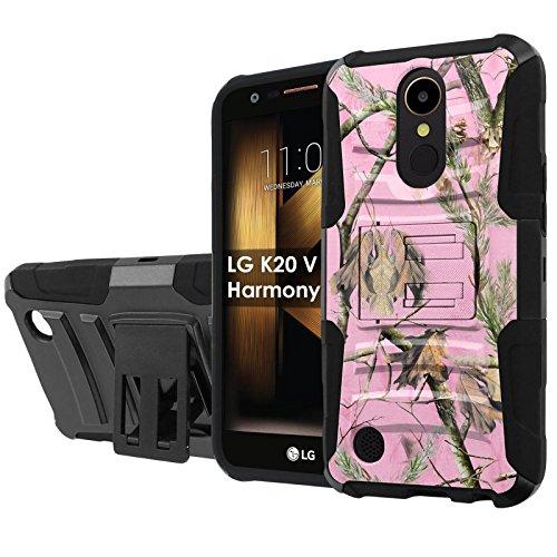 LG [K20 V/K20 plus] LG Harmony [NakedShield] [Black/Black] Defender Combat Armor Case [KickStand] [Holster] - [Pink Hunter Camouflage] for LG [K20 V/K20 plus/Harmony] [5.3