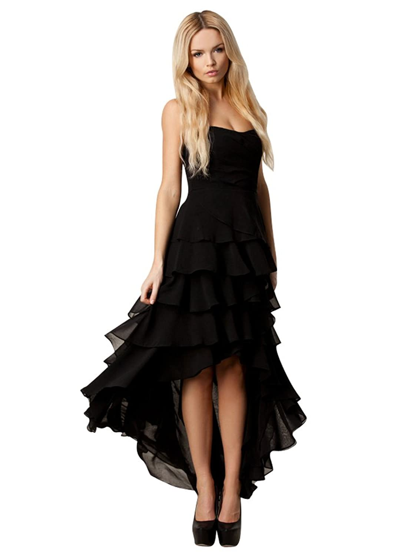 Purpura Erizo Womens Black High and Low Hem Bandeau Layered Dress