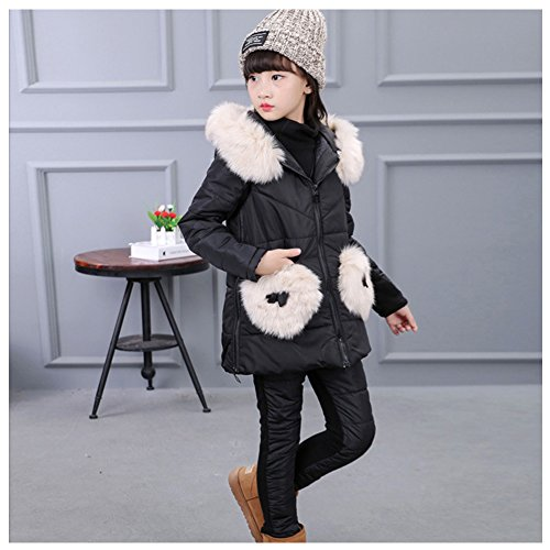 Amazon.com: M&A Girls Snowsuit Winter Fur Hooded Down Jacket Vest + Sweater + Snow Pants 3Pcs: Clothing