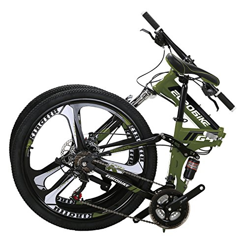 Eurobike EURG4 Mountain Bike 26 Inches 3 Spoke Dual Suspension Folding Bike 21 Speed MTB Army Green