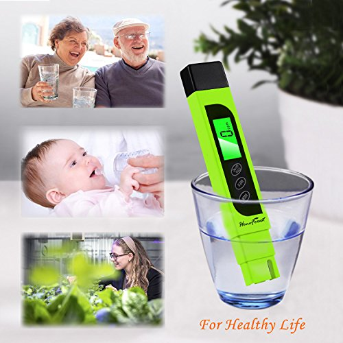 Digital TDS Meter, Accurate and Reliable, HoneForest TDS, EC & Temp Meter 3 in 1, 0-9990ppm, Ideal Water Tester PPM Meter(Green)