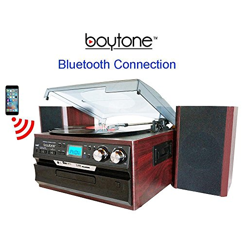 8-in-1 Boytone BT-24DJM Turntable with Bluetooth Connection, 3 Speed 33, 45, 78 Rpm, CD, Cassette Player AM, FM USB, SD Slot, Aux, Encoding Vinyl & Radio & Cassette To-MP3, Remote control.