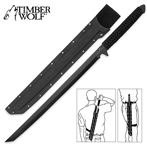 Timber Wolf Full Tang Ninja Sword Machete with Shoulder Scabbard - All Black Stealth Combat Sword with Multi Carry Options -