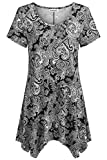 Women Short Sleeves Tunic Shirts,Nandashe Summer Teen Girls Crew Neck High Low Dressy Wide Hemline A Line Pleated Loose Cool Thin Tre Fashion Floral Pattern Basic Tshirt for Daily Life Dating Black 2x