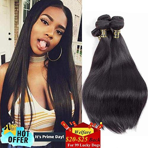 QTHAIR 10A Straight Human Hair Bundles Indian Straight Hair(14 16 18,300g,Natural Black) 100% Unprocessed Indian Straight Virgin Human Hair Bundles