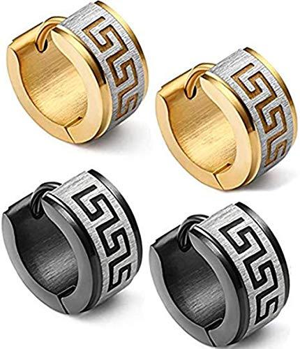 KARAY Stainless Steel Hoop Earrings for Men Women Huggie Earrings Unique Greek Key (Gold&Balck) (Best Man In Greek)