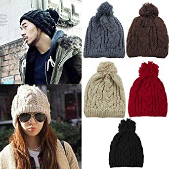 Powerfulline Stylish Winter Warm Womens Mens Knit Ski Beanie Ball Wool Cuff Hat Ski Cap Red