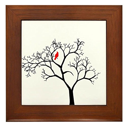 CafePress Cardinal in Snowy Tree Framed Tile, Decorative Tile Wall - Tile Ceramic Framed Quality Decor