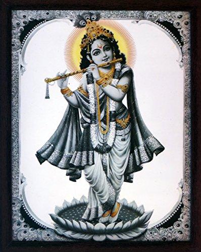 Handicraft Store Lord Krishna Playing Flute Wearing Garland In