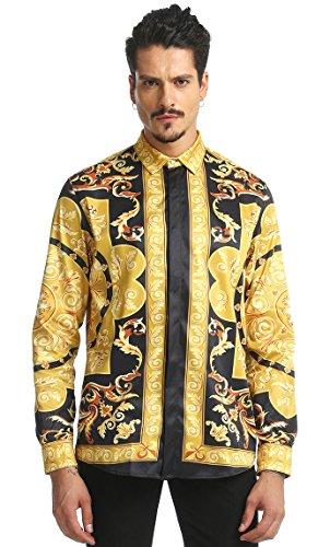 (PIZOFF Mens Long Sleeve Luxury Golden Strips Flowers Floral Print Dress Shirt)