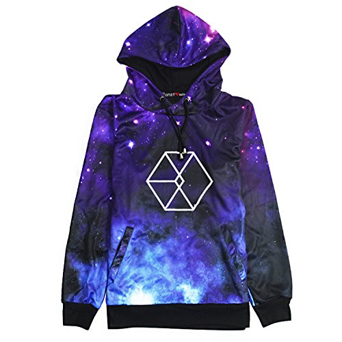 Fanstown Kpop Starry Sky Pullover Hoodie Hiphop Thicken Hoodie Sweatshirt with lomo Cards