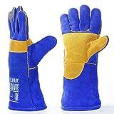 YUIOP Leather Heat Resistant Wear Resistant Tig Weld Mig Welders Fireplace Gardening Grilling Stove Women Men Protective Welding Gloves