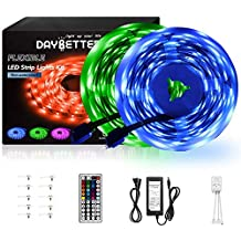 DAYBETTER Led Strip Lights 32.8ft 10m with 44 Keys IR Remote and 12V Power Supply Flexible Color Changing 5050 RGB 300 LEDs Light Strips Kit for Home, Bedroom, Kitchen,DIY Decoration (Renewed)