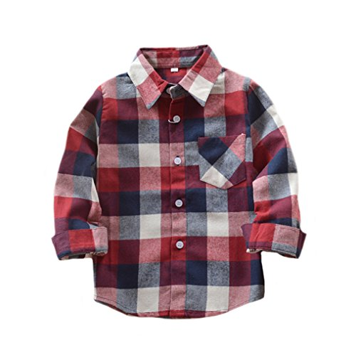 ys' Long Sleeve Button Down Plaid Flannel Shirt Red Blue 2T ()