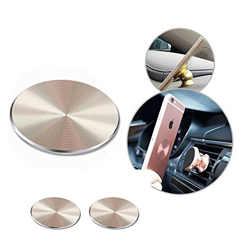 HERLANKKI Adhesive Metal Plate Mounting Kits Stickers Discs Magnetic Patch Compatible with Air Vent Magnetic Car/Vehicle Mount Holder Especially for iPhone X XS Max Samsung Galaxy (Gold-2p)