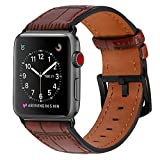 Leather Watch Band Fine Custom Embossed Replacement Cuff Version Straps with Metal Clasp for Apple watch 42mm Dark Brown