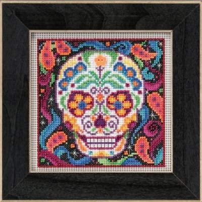 Sugar Skull Halloween Beaded Counted Cross Stitch Kit Mill Hill 2015 Buttons & Beads Autumn -