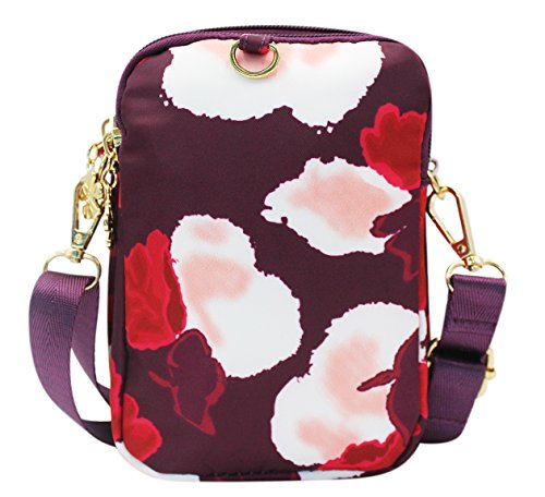 Hossty Phone Small Flower Women Wallet Bag Nylon Purse Bag Cell Crossbody Shoulder Smartphone Red FrFYwq