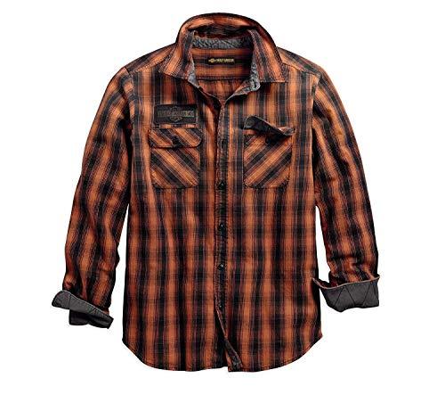 Harley-Davidson Official Men's Oak Leaf Plaid Slim Fit Shirt, Plaid (Large)