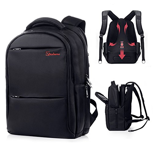 Laptop Backpack - Vitalismo Computer Bag Rucksack Up to 15.6 inch Waterproof Slim Lightweight Guard Against Theft Zipper Sports Gym Travel Backpack Business Black