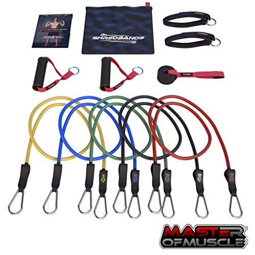 Master of Muscle Resistance Bands - 11pc Set - With Door Anchor & Ankle Strap for Legs Workout & Carry Case - Heavy Duty Anti-Snap Technology - Bonus 20 Fat Burning Workouts Ebook by Master of Muscle