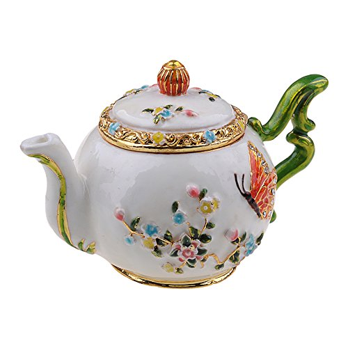Jiaheyou Teapot Jeweled Trinket Jewelry Ring Box Pewter Collectibles Gifts for Her China Crafts